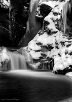Monochrome waterfall in winter time 2