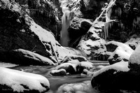 Monochrome waterfall in winter time 1